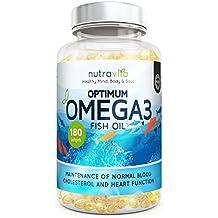 Optimum Omega 3 1000 Mg Nutravita – Integratore In Pillole Di Olio Di Pesce Purissimo Con EPA e DHA Ricco Acidi Grassi Benessere Per Cervello Cuore Articolazioni – 180 Capsule Gel Made In UK