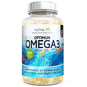 Optimum Omega 3 1000mg 6 Months Supply Pure Fish Oil with EPA & DHA by Nutravita | Made in the UK