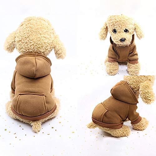 U.Expectating Hundekleidung Hoodie Winter warmen Welpen Mantel Stricken Welpen Pullover (L, Kaffee) -