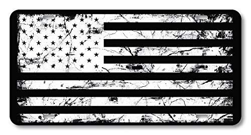 Custom License Plates Kennzeichenabdeckung für US-Fahrzeuge, 4 Löcher, 30,5 x 15,2 cm, Black White American Flag Distressed, 12 x 6 Inch - American Flag License Plate