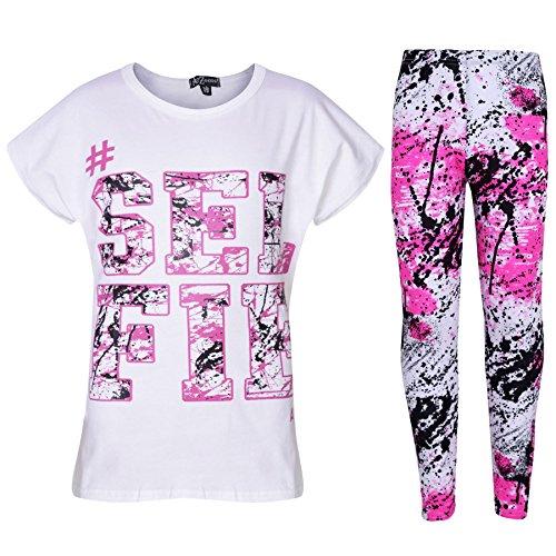 A2Z 4 Kids Kinder Mädchen Top LOVE Druck T-Shirt & Spritzer Aufdruck Mode Leggings Set Neu 122 128 134 140 11 12 13 Jahre - Selfie Spritzer Satz weiß, 7-8 Years
