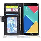Cadorabo - Samsung Galaxy A5 (6) (Modèle 2016) Etui en Similicuir Design: Book Portefeuille Style et 3 emplacements pour les cartes - Coque Housse Case Cover Bumper Portefeuille en NOIR