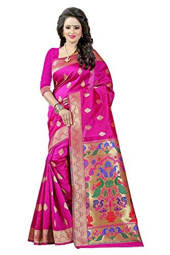 J B Fashion Women's silk saree with blouse piece (darkpink)