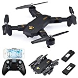 Drone With Camera, Virhuck WIFI FPV Quadcopter with 2MP 720P Wide Angle Camera Live Video Mobile APP Control Foldable Altitude Hold Mode Selfie Pocket RC Helicopter, 2 Batteries