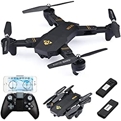 720P RC Quadcopter Drone Plegable, con 2x Batteries 900mAh, 720P Lente Gran Angular / Velocidad de Nivel 3 / WiFi FPV / Altitude Hold / Modo sin Cabeza / Una llave Regreso / Modo G-RC RC Drone (720P Wide Angle Lens)