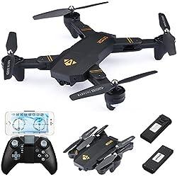 720P RC Quadcopter Drone Plegable, con 2x Batteries 900mAh, 720P Lente Gran Angular / Velocidad de Nivel 3 / WiFi FPV / mantenimiento de altitud / Modo sin Cabeza / Una llave Regreso / Modo G-RC RC Drone (720P Lente Gran Angular)