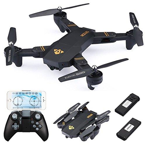 720P RC Quadcopter Drone Plegable, Lente Gran Angular / Velocidad de Nivel 3 / WiFi FPV / Mantenimiento de altitud / Modo sin Cabeza / Una Clave retroceder (Con lente gran angular) (con dos batería)