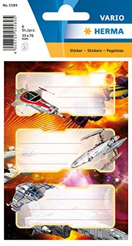 Herma 5589 Namens-Heftetiketten für die Schule, Motiv Weltall Raumschiff, Format 7,6 x 3,5 cm, beglimmert, Inhalt pro Packung: 6 Etiketten