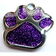 Engraved 27mm PURPLE GLITTER PAW PRINT Pet ID Tag - ENGRAVED & POSTED FREE by M&K Supplies. Cat Dog Shape Design Identity Gift