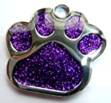 Engraved 27mm PURPLE GLITTER PAW PRINT Pet ID Tag - ENGRAVED & POSTED FREE by M&K Supplies. Cat Dog Shape Design Identity Gif