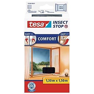 tesa Insect Stop COMFORT Fliegengitter Fenster - Insektenschutz mit Klettband selbstklebend - Fliegen Netz ohne Bohren - Anthrazit, 130 cm x 150 cm
