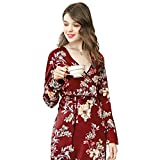HOQTUM Pijamas para Mujer Pijamas Estilo Kimono Albornoces Largos de Estilo otoñal Peluche Camisón de Mujer Estampado Delgado (Talla única)