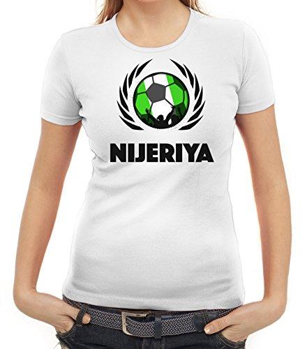 ShirtStreet Nijeriya Wappen Soccer Fussball WM Fanfest Gruppen Fan Wappen Damen T-Shirt Fußball Nigeria Weiß