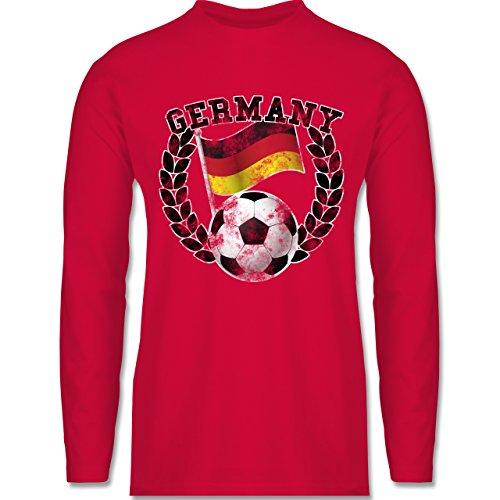 Shirtracer Fußball-WM 2018 - Russland - Germany Flagge & Fußball Vintage - Herren Langarmshirt Rot