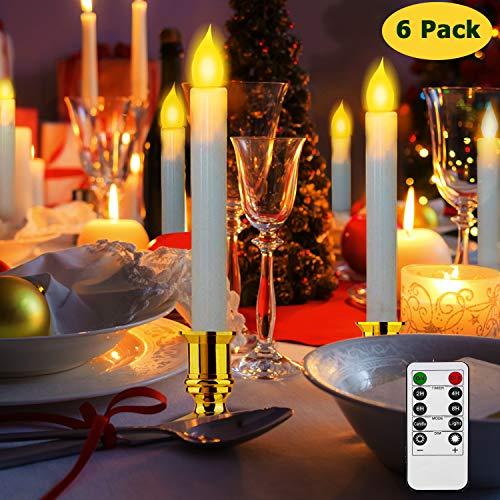 LED Kerzen, Kriogor LED Flammenlose Stabkerzen mit Timer, Flackern Teelichter, Elektrische Kerze Lichter Batterie Dekoration für Weihnachten, Geburtstag, Hochzeit, Party (6er warmweiß)