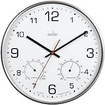 Acctim 29148 Komfort Metal Silencioso de reloj de pared con termómetro y higrómetro