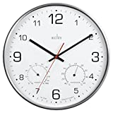 Acctim 29148Komfort Metal Silencioso de reloj de pared con termómetro y higrómetro