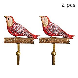 Lvcky 2Pcs Natural Resin Birds Hooks Wall Door Hanger Rack Craft Decor for Office Home Red