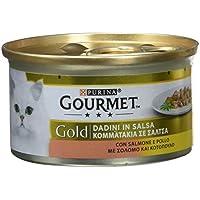 Gourmet Gold Alimento per il Gatto Dadini in Salsa con Salmone e Pollo, 85 g - Confezione da 24 Pezzi