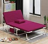 XGHW Klappbett Vielseitig Einzeldoppelbett Siesta-Bett Büro Liegeplatz Outdoor-Strandkrippe Mehrere Größen Kostenloses Kissen (Farbe : Pink, größe : 185 * 60cm)
