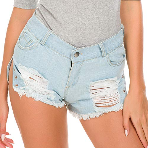 orts Nachtclub Bar Hohe Taille Sexy Strand Hot Pants Loch Denim Shorts Blue-L ()
