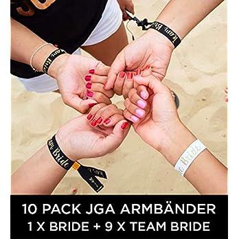 10 x set Team Bride Wristband (ENGLISH) – 1 x Bride + 9 x Team Bride JGA Armbänder ~ als kleines Geschenk für den Junggesellinnenabschied ~ JGA Bracelet