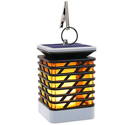 Solarleuchte Außen Solar Laterne Flackernde Flammenlampe, 75LED mit Flammenartige Beleuchtung IP55 Wasserdicht, Automatisch Ein- und Dekoration Lampen Hängeleuchte für Haus, Garten, Wege, Baum etc (1 Stück)