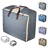 Duvet Storage Bags, Qozary Bedding Storage Bags with Zips, Clothes Storage Bag Made of Better and Comfortable Fabric, Available in 4 Colours (Grey)