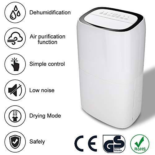 vingo Deumidificatore Portatile Compatto 26L/24h fino a 200 m³ (~100 m²) rimozione dell'umidità e riduzione di muffa e umidità Multifunzione Risparmio Energetico