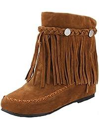 YE Bottines Franges Femme Plates Boots Botte Courte Chaude Chaussure Hiver  avec Studs