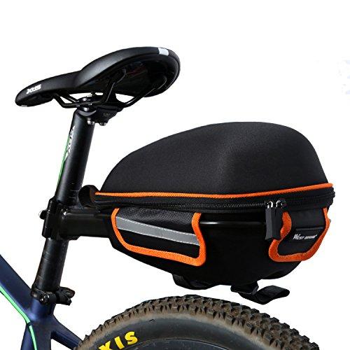 West Biking Outdoor Fahrrad & MTB Satteltasche Back Seat Schwanz Tasche + Reflektierende Streifen Paket + Regen Cover Schwarz mit Grün schwarz / orange