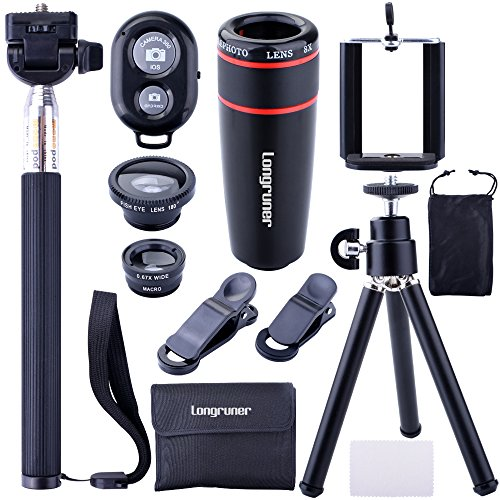 Longruner 10 in 1 Mini Lens Kit 8 x Telephoto Lens + Fish Eye Lens + Wide Angle + Macro Lens Selfie Stick Monopod + Bluetooth Remote Control + Mini Tripod with a 6 Slots Case LA02