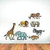 Rawpockets 'Wild Animals With Name - Kids Room ' Wall Sticker (PVC Vinyl, 135 Cm X 90cm)