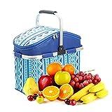 Purebesi Isolations-Eisbeutel, Große Kapazität Oxford-Tuch Aluminiumfolie Tragbarer Picknickkorb Lunchpaket, Zusammenklappbar
