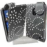 StyleBitz NOUVEAU étui pour Nokia Lumia 620, motif fleurs de diamant avec tissu de nettoyage LMC (noir)