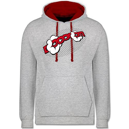 Comic Shirts - Booom! - Kontrast Hoodie Grau Meliert/Rot