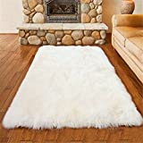LIYINGKEJI Faux Schaffell Bereich Teppich Silky Shag Teppich Weiß Flauschige Teppich Teppiche Boden Teppiche Dekorative für Wohnzimmer Mädchen Schlafzimmer Größe: 50 x 150 cm (Weiß)