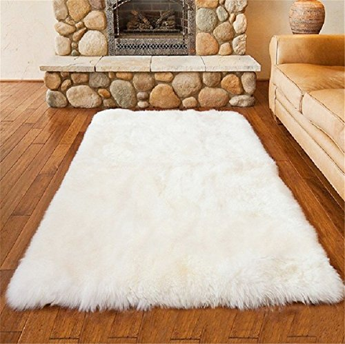 LIYINGKEJI Faux Schaffell Bereich Teppich Silky Shag Teppich Weiß Flauschige Teppich Teppiche Boden Teppiche Dekorative für Wohnzimmer Mädchen Schlafzimmer Größe: 50 x 150 cm (Weiß) (Teppich Wolle Shag)