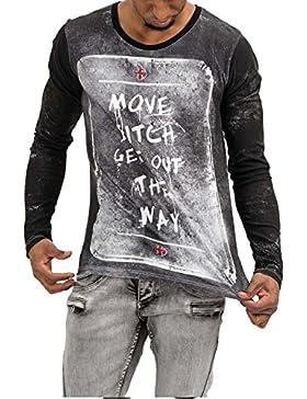 trueprodigy Casual Hombre marca Camiseta Manga Larga estampado ropa retro vintage rock vestir moda cuello redondo...