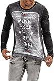 trueprodigy Casual Herren Marken Long Sleeve mit Aufdruck, Oberteil cool und stylisch mit Rundhals Ausschnitt (Langarm & Slim Fit), Langarmshirt für Männer Bedruckt Farbe: Schwarz 1073169-2999-XL