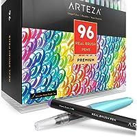 ARTEZA Caja de 96 rotuladores de pincel | Pinceles con tinta de agua | 12 colores individuales | Ideales para caligrafía y coloreado