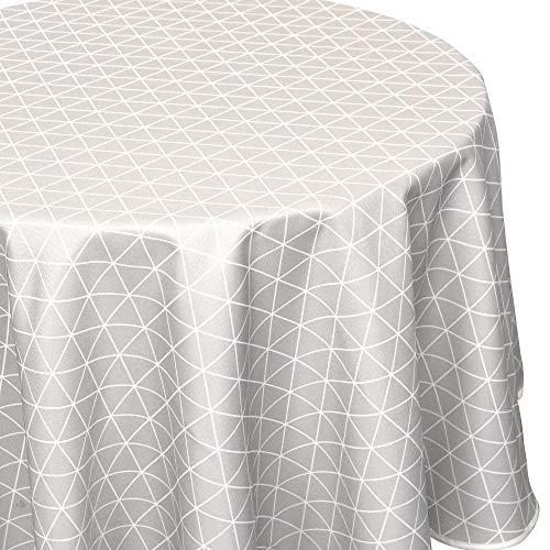 Nappe ronde 180 cm imprimée 100% polyester PACO géométrique gris
