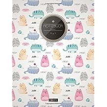 """TULPE Blanko Notizbuch A4 """"C115 Lustige Katzen"""" (140+ Seiten, Vintage Softcover, Seitenzahlen, Register, Weißes Papier - Dickes Notizheft, Skizzenbuch, Zeichenbuch, Blankobuch, Sketchbook)"""