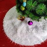 Albero di Natale Bianco in Finta Pelliccia Lunga Plush Double Layerxmas Albero Gonna per Merry Christmas Year Party Holiday Home Decor, 78CM