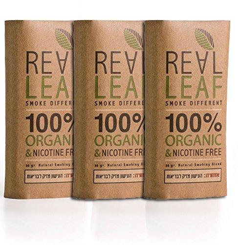 Real Leaf 3 X Pack Bio-Kräuter-Natur Rauchen Mischung 90g gesamt 100{c05b26fc43d31672bd096c17ba06d516705f16ffd82fbb62f788db30590ec0a3} Nikotin und Tabak frei, reich, Aromatisch, feines Aroma und fließenden, natürlichen Geschmack Tabakersatz