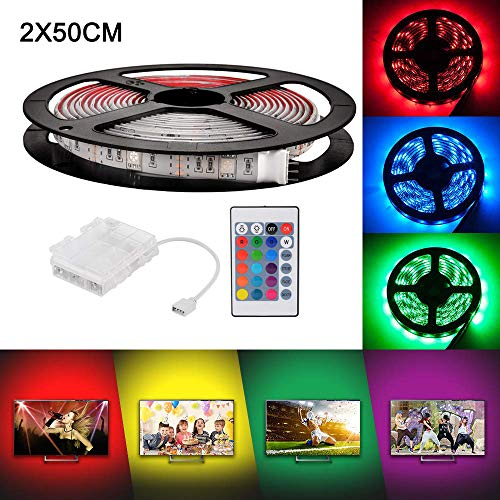 2 x 50 cm Batteriebetriebene LED-Streifenlichter mit 24 Tasten Fernbedienung und Batteriekasten, RGB 5050 Wasserdichtes Multicolor Lichtleiste für Weihnachten Hause Indoor und Ourdoor Dekoration
