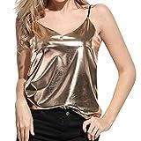ESAILQ Damen Basic V-Ausschnitt Kurzarm T-Shirt Falten Tops mit Knopf(XL,Gold)