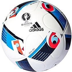 Adidas Beau Jeu EURO16 Balón de fútbol, primavera/verano, color Blanco - White/Bright Blue/Night Indigo, tamaño 4