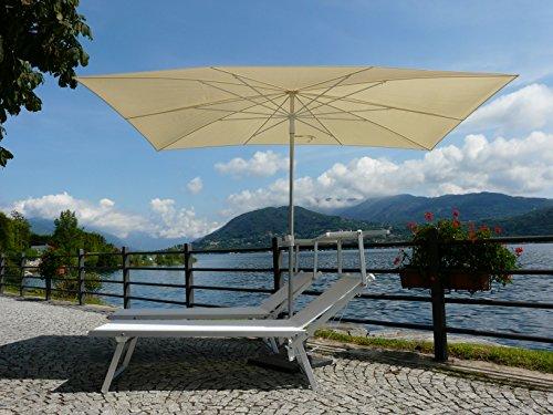 Maffei Art 138r Kronos Sonnenschirm rechteckig cm 200x 300, Stoff Polyester wasserdicht. Made in Italy. Farbe Ecru