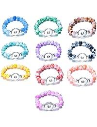 Soleebee Bracelet perle pour Femme et Fille Couleur solide Ronde Bracelet en Résine élastique Bracelet a Bouton Pression charms Bouton Fit 18mm (Paquet de 10)
